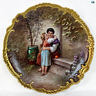 French Antique Large E. Furlaud Enamel Painting on Porcelain Plaque