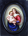 Antique German KPM Enamel Painting on Porcelain w/ Mary and Baby Chris