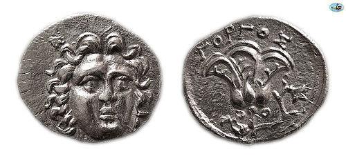 ISLANDS OFF CARIA. RHODOS, RHODES. CIRCA 250-190 BC. AR DRACHM Coin