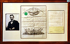 1861 Abraham Lincoln Signed Document as The President of United States