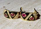 Striking  Burma Ruby-Diamond-Onyx 18K. Gold Earrings