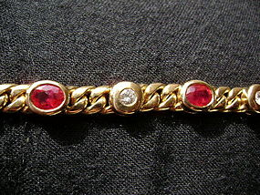 Genuine Burma Ruby & Diamond Bracelet 18K solid gold