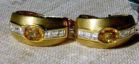 Genuine Golden Yellow Sapphires-Diamond Earrings 18K.