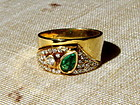 Solid 18K. Gold Ring set with genuine Emerald-Diamonds