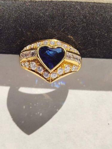 Genuine Heart Shaped Blue Sapphire-Diamond Ring 18K.