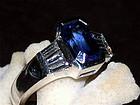 Genuine Octagon Ceylon Blue Sapphire-Diamond Ring 18K.