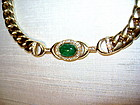 Solid 18K. Bracelet with Cabochon Emerald & Diamonds