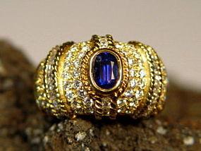 Genuine Ceylon Blue Sapphire-Diamond Ring in 18K. Gold
