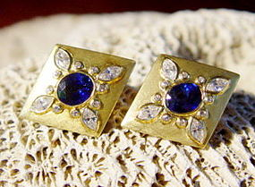 18K. Gold Earrings with Genuine Sapphires and Diamonds