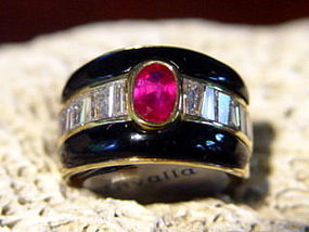 Solid 18K. Gold Ring with Genuine Burma Ruby & Diamonds