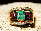 Colombian Emerald, Ruby and Diamond Ring 18K. Gold