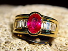 Solid 18K. Gold Ring set with Burma Ruby & Diamonds