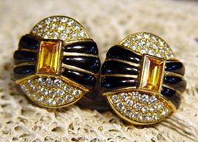 Solid 18K. Earrings: Yellow Sapphire/Pave Diamonds/Onyx