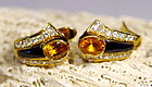 Genuine Ceylon Yellow Sapphire/Diamond/Onyx Earrings