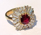 18K. Gold Ballerina Ring with Genuine Ruby & Diamonds