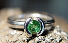 Solid 18K 2-Tone Gold Ring with Green Garnet & Diamonds