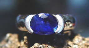 Solid 18K. White Gold Ring with Ceylon Blue Sapphire