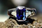 Genuine Blue Sapphire-Diamond Ring 18K. White Gold