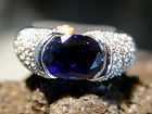 Large Blue Sapphire-Diamond Ring Solid 18K. White Gold