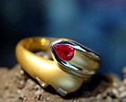 Solid 2-Tone 18K. Gold Ring set with Ruby & Diamonds