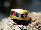 Solid 2-Tone 18K. Gold Wave Ring with Ruby and Diamonds