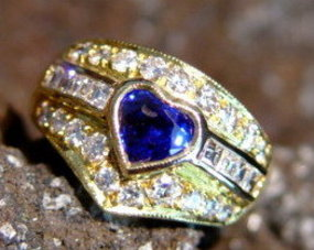 Solid 18K Gold Heart Shaped Blue Sapphire-Diamond Ring