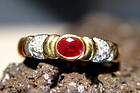 18K. Solid Gold Ring set with Ruby and Diamonds