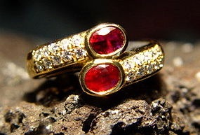18K Gold Toi-et-Moi Double Coiled Ruby-Diamond Ring