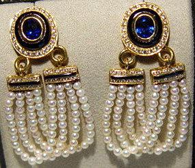 18K. Earrings with Baby Pearls, Diamonds-Sapphire-Onyx