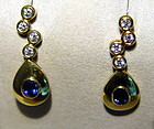 18K. Solid Gold Earrings with Blue Sapphires-Diamonds