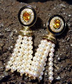 18K. Gold Pearl-Yellow Sapphire-Diamond Tassel Earrings