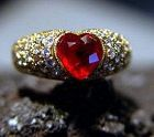 Stupendous Heart Ruby and Pave Diamond Ring 18K.