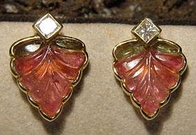 18K. Earrings with 2-Tone Tourmaline- Princess Diamonds