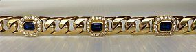 Solid 18K. Gold Link Bracelet with 6 Sapphires/Diamonds