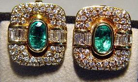 Elegant 18K. Gold Earrings with Emeralds & Diamonds
