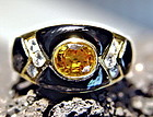 Solid 18K. Gold Ring with Yellow Sapphire-Diamonds-Onyx