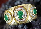 Solid 18 K. Gold Ring set with 3 Emeralds & Diamonds