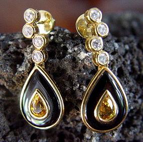 18K. Gold Earrings with Yellow Sapphires-Diamonds-Onyx