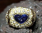 Stunning 18K Solid Gold Ring: Blue Sapphire & Diamonds