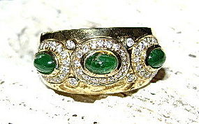 Solid 18K. Gold Ring with Cabochon Emeralds-Diamonds