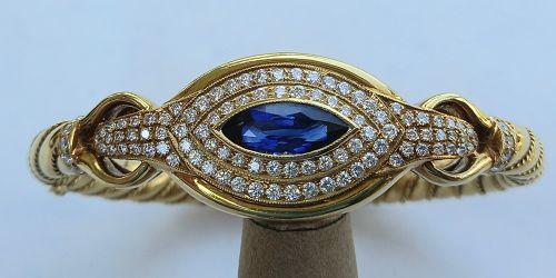 Important 18K Gold Bangle w. Marquise Sapphire-Diamonds