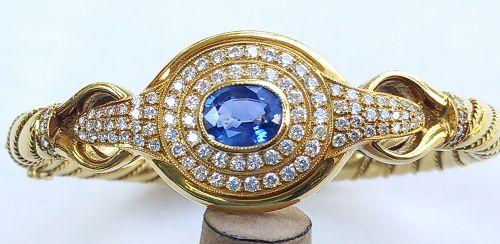 Important 18K Bangle w. Sky Blue Sapphire & Diamonds