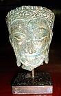 Ayutthaya Bronze Buddha Head mounted, 17/18th Cent.