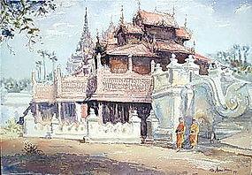Original Painting of Shwe In Bin Monastery,  Burma