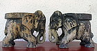 Rare Solid Wooden Pair of Hand Carved Elephants, Burma