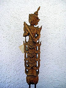 Thai wooden stylized Guardian Angel, 19th Century