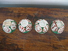 4 Tea Cups with four medallions copper red/green/white