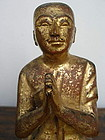 Gilt Hand Carved Wooden Disciple in Adoration, Burma