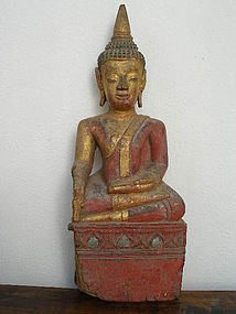 Tai Yai  Hand Carved Wooden Buddha, 19th Century