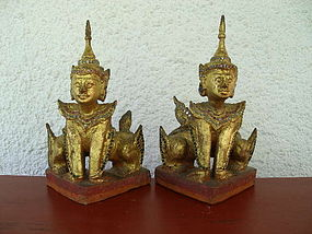 Pair of Antique Hand Carved Gilt Wood NORASINGH Figures